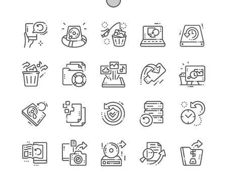 Data Recovery Well-crafted Pixel Perfect Vector Thin Line Icons 30 2x Grid for Web Graphics and Apps. Simple Minimal Pictogram Ilustração