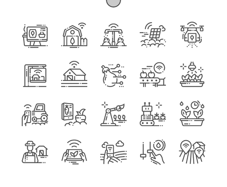 Smart Farm Well-crafted Pixel Perfect Vector Thin Line Icons 30 2x Grid for Web Graphics and Apps. Simple Minimal Pictogram Stock Vector - 127343476