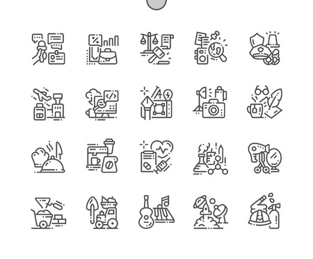 Professions Well-crafted Pixel Perfect Vector Thin Line Icons 30 2x Grid for Web Graphics and Apps. Simple Minimal Pictogram