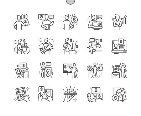 Finanzberater Gut gestaltete Pixel Perfect Vector Thin Line Icons 30 2x Raster für Webgrafiken und Apps. Einfaches minimales Piktogramm