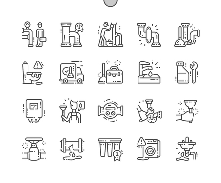 Plumbing elements Well-crafted Pixel Perfect Vector Thin Line Icons 30 2x Grid for Web Graphics and Apps. Simple Minimal Pictogram