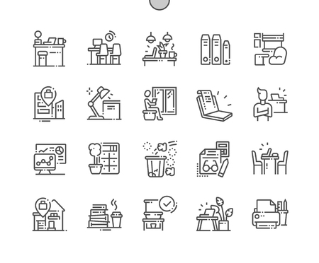 Workplace Well-crafted Pixel Perfect Vector Thin Line Icons 30 2x Grid for Web Graphics and Apps. Simple Minimal Pictogram Ilustração