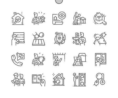 Inspekcje domu Dobrze wykonane Pixel Perfect Vector Cienka linia Ikony 30 2x siatka do grafiki internetowej i aplikacji. Prosty minimalny piktogram