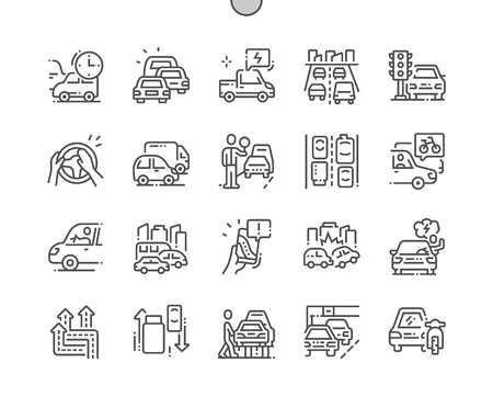 Embouteillages Pixel Perfect Vector Thin Line Icons 30 2x Grid for Web Graphics and Apps. Pictogramme minimal simple