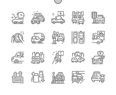 Staus Gut gestaltete Pixel Perfect Vector Thin Line Icons 30 2x Raster für Webgrafiken und Apps. Einfaches minimales Piktogramm