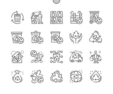 Recyclage des icônes de fine ligne vectorielles parfaites de pixels bien conçues 30 grille 2x pour les graphiques et les applications Web. Pictogramme minimal simple