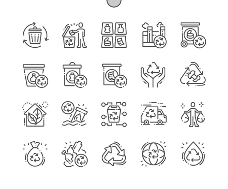 Recycling Well-crafted Pixel Perfect Vector Thin Line Icons 30 2x Grid for Web Graphics and Apps. Simple Minimal Pictogram