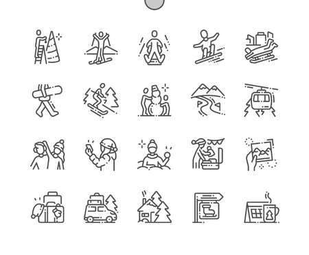 Winter vacation Well-crafted Pixel Perfect Vector Thin Line Icons 30 2x Grid for Web Graphics and Apps. Simple Minimal Pictogram Banco de Imagens - 126806789