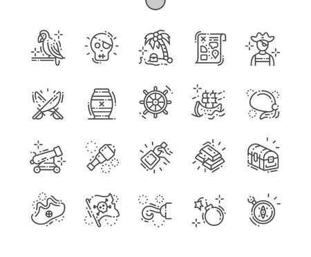 Pirate Set Well-crafted Pixel Perfect Vector Thin Line Icons 30 2x Grid for Web Graphics and Apps. Simple Minimal Pictogram
