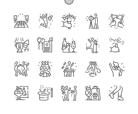 Party and Celebration Well-crafted Pixel Perfect Vector Thin Line Icons 30 2x Grid for Web Graphics and Apps. Simple Minimal Pictogram Foto de archivo - 126806792