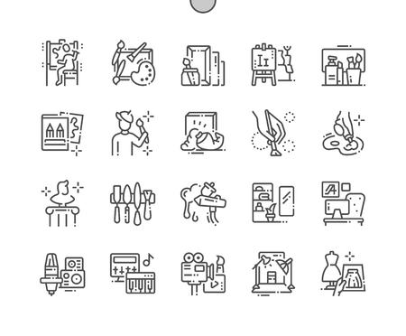 Artistic Studio Well-crafted Pixel Perfect Vector Thin Line Icons 30 2x Grid for Web Graphics and Apps. Simple Minimal Pictogram Stock Illustratie