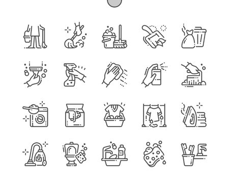 Cleaning Well-crafted Pixel Perfect Vector Thin Line Icons 30 2x Grid for Web Graphics and Apps. Simple Minimal Pictogram