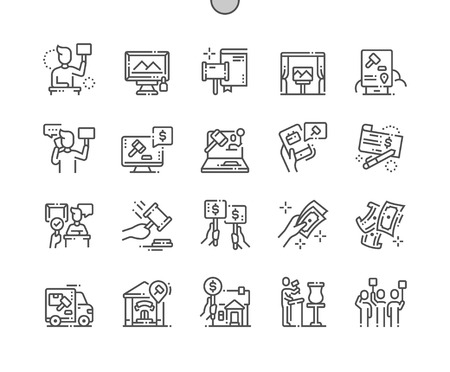 Auction Well-crafted Pixel Perfect Vector Thin Line Icons 30 2x Grid for Web Graphics and Apps. Simple Minimal Pictogram Reklamní fotografie - 114142764