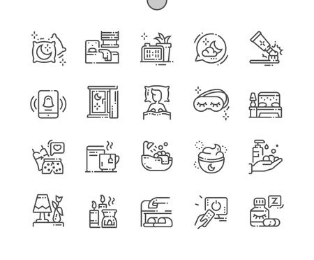 Zeit zum Schlafen Gut gestaltete Pixel Perfect Vector Thin Line Icons 30 2x Raster für Webgrafiken und Apps. Einfaches minimales Piktogramm