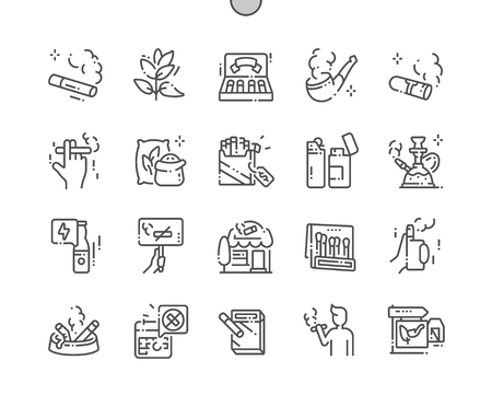 Tobacco Well-crafted Pixel Perfect Vector Thin Line Icons 30 2x Grid for Web Graphics and Apps. Simple Minimal Pictogram Illustration