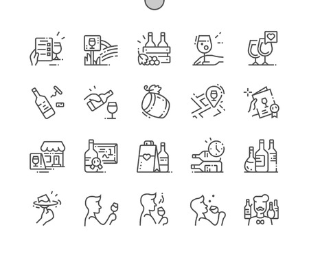 Wine Well-crafted Pixel Perfect Vector Thin Line Icons 30 2x Grid for Web Graphics and Apps. Simple Minimal Pictogram Ilustração Vetorial
