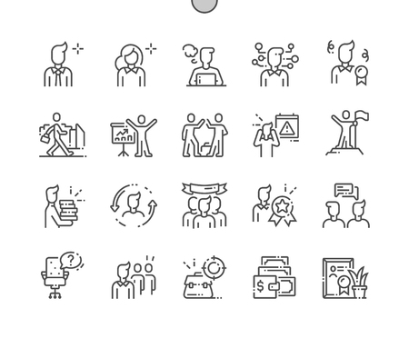 Pracownicy biurowi Dobrze wykonane piksele idealne wektorowe ikony cienka linia 30 2x siatka do grafiki internetowej i aplikacji. Prosty minimalny piktogram