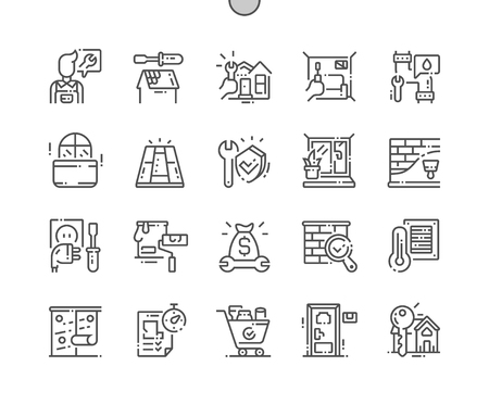 General repair concepts Well-crafted Pixel Perfect Vector Thin Line Icons 30 2x Grid for Web Graphics and Apps. Simple Minimal Pictogram