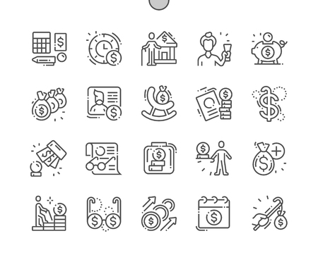 Pension Funds Well-crafted Pixel Perfect Vector Thin Line Icons 30 2x Grid for Web Graphics and Apps. Simple Minimal Pictogram Foto de archivo - 125727612