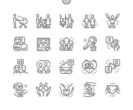 Familie goed gemaakte Pixel Perfect Vector dunne lijn pictogrammen 30 2x raster voor webafbeeldingen en apps. Eenvoudig minimaal pictogram