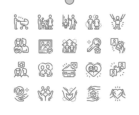 Famille bien conçue Pixel Perfect Vector Thin Line Icons 30 Grille 2x pour les graphiques Web et les applications. Pictogramme minimal simple