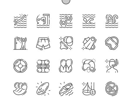 Schwimmen Gut gestaltete Pixel Perfect Vector Thin Line Icons 30 2x Raster für Webgrafiken und Apps. Einfaches minimales Piktogramm
