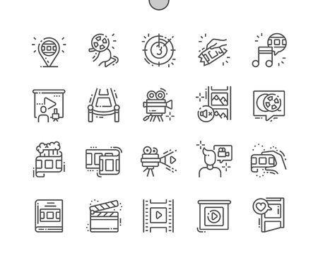 Film Well-crafted Pixel Perfect Vector Thin Line Icons 30 2x Grid for Web Graphics and Apps. Simple Minimal Pictogram