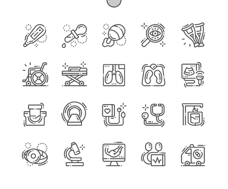 Medical facilities Well-crafted Pixel Perfect Vector Thin Line Icons 30 2x Grid for Web Graphics and Apps. Simple Minimal Pictogram Illustration