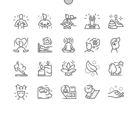 Meditación y prácticas espirituales Pixel Perfect Vector Thin Line Icons bien diseñados Cuadrícula de 30 2x para gráficos y aplicaciones web. Pictograma mínimo simple Ilustración de vector