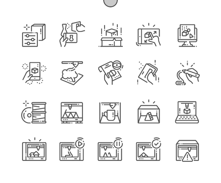 3D Printing Elements Well-crafted Pixel Perfect Vector Thin Line Icons 30 2x Grid for Web Graphics and Apps. Simple Minimal Pictogram