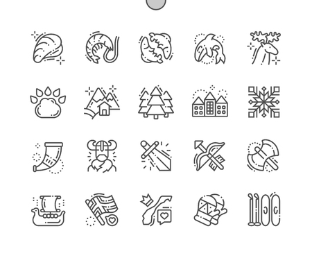 Norway Well-crafted Pixel Perfect Vector Thin Line Icons 30 2x Grid for Web Graphics and Apps. Simple Minimal Pictogram  イラスト・ベクター素材