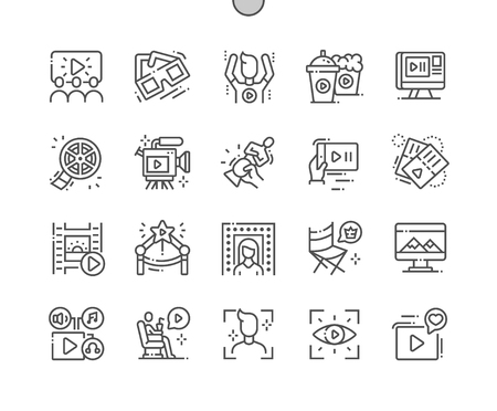 Movie Well-crafted Pixel Perfect Vector Thin Line Icons 30 2x Grid for Web Graphics and Apps. Simple Minimal Pictogram Illustration