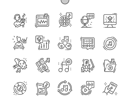 Sound recording Well-crafted Pixel Perfect Vector Thin Line Icons 30 2x Grid for Web Graphics and Apps. Simple Minimal Pictogram