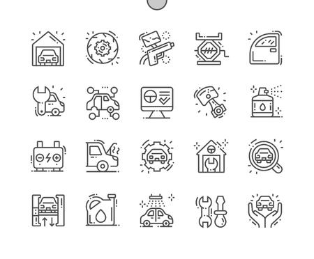 Garaje Iconos de líneas finas de píxeles perfectos vectoriales bien elaborados Cuadrícula de 30 2x para gráficos y aplicaciones web. Pictograma mínimo simple