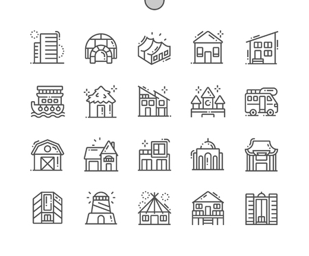 Types of Homes Well-crafted Pixel Perfect Vector Thin Line Icons 30 2x Grid for Web Graphics and Apps. Simple Minimal Pictogram