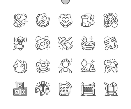 Baby Well-crafted Pixel Perfect Vector Thin Line Icons 30 2x Grid for Web Graphics and Apps. Simple Minimal Pictogram Ilustração