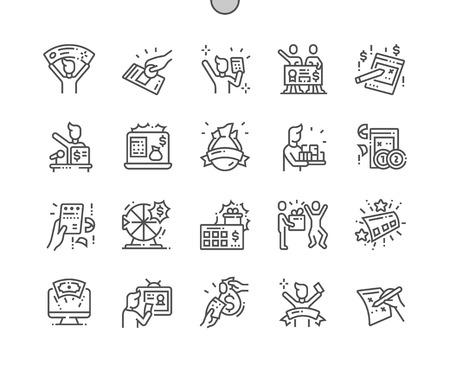 Ogromna wygrana na loterii Dobrze wykonane Pixel Perfect Vector Cienka linia Ikony 30 2x siatka do grafiki internetowej i aplikacji. Prosty minimalny piktogram