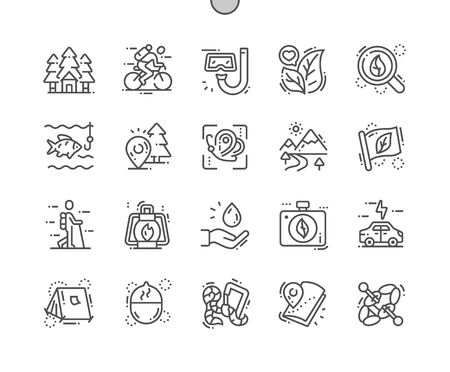 Eco tourism Well-crafted Pixel Perfect Vector Thin Line Icons 30 2x Grid for Web Graphics and Apps. Simple Minimal Pictogram