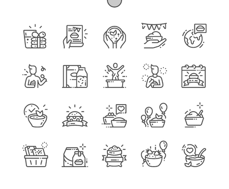 World Festival of Oatmeal Well-crafted Pixel Perfect Vector Thin Line Icons 30 2x Grid for Web Graphics and Apps. Simple Minimal Pictogram