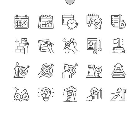 Définition d'objectifs Pixel Perfect Perfect Vector Thin Line Icons 30 Grille 2x pour les graphiques Web et les applications. Pictogramme minimal simple Vecteurs
