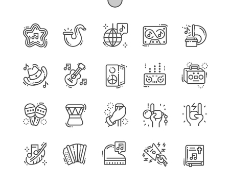 Musical genres Well-crafted Pixel Perfect Vector Thin Line Icons 30 2x Grid for Web Graphics and Apps. Simple Minimal Pictogram Illustration