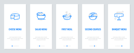 Cheese menu, Salad menu, First meal, Second courses, Banquet menu Vertical Cards with strong metaphors. Template for website design.