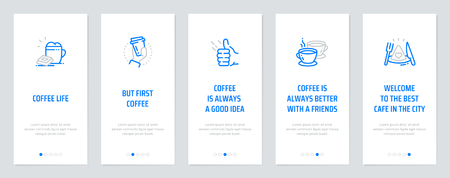 Coffee life, But first, coffee, Coffee is always a good idea, Coffee is always better with a friends, Welcome to the best cafe in the city. Template for website design. Ilustração