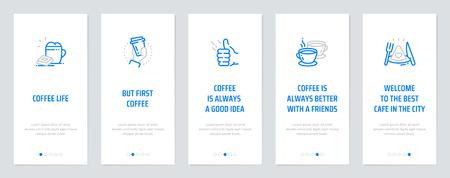 Kaffeeleben, Aber zuerst Kaffee, Kaffee ist immer eine gute Idee, Kaffee ist immer besser mit Freunden, Willkommen im besten Café der Stadt. Vorlage für Website-Design.