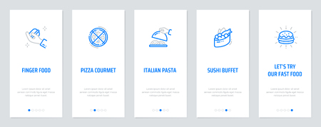 Finger food, Pizza courmet, Italian Pasta , Sushi buffet, Let's try our fast food Vertical Cards with strong metaphors. Template for website design.