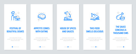 Festival of beautiful dishes, Appetite comes with eating, House of spices and sauces, This food smells delicious, The sauce conceals a thousand sins. Template for website design. Illustration