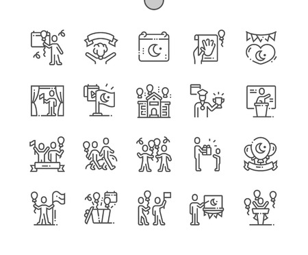 Nisan( National Sovereignty and Childrens Day) Well-crafted Pixel Perfect Vector Thin Line Icons 30 2x Grid for Web Graphics and Apps. Simple Minimal Pictogram
