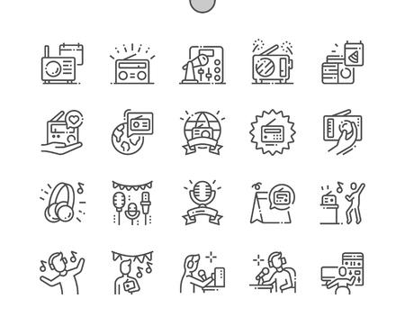 Día mundial de la radioafición Iconos de líneas finas de píxeles perfectos vectoriales bien elaborados Cuadrícula de 30 2x para gráficos y aplicaciones web. Pictograma mínimo simple