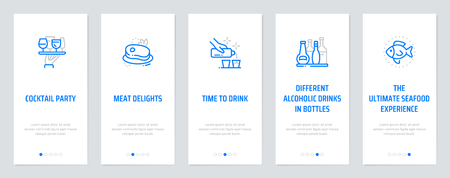 Cocktail party, Meat Delights, Time to drink, Different alcoholic drinks in bottles, The ultimate seafood experience Vertical Cards with strong metaphors. Template for website design. Illusztráció