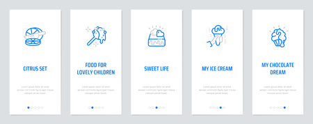 Citrus set, Food for lovely children, Sweet life, My ice cream, My chocolate dream Vertical Cards with strong metaphors. Template for website design.